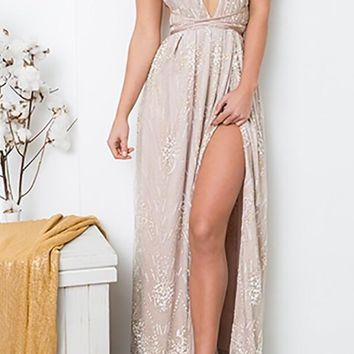 Tainted Love Blush Pink Sequin Sleeveless Spaghetti Strap Plunge V Neck X Back Slit Casual Maxi Dress