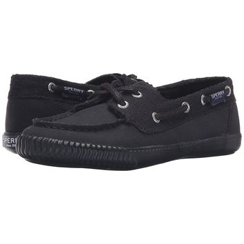 Women's Sayel Away Boat Shoe in Black Perf Canvas by Sperry