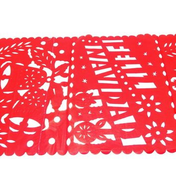 Feliz Navidad, Mexican Christmas Decor, Red Table Runner, Holiday Decorations, Holiday Party Decor, Fiestas Navideñas.