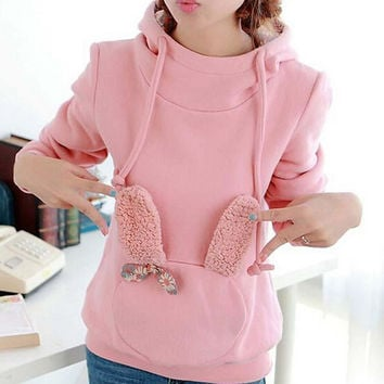 Cute solid color hooded sweater