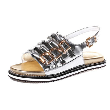 Stylish Summer Design Silver Red Flat Sandals [4914878404]