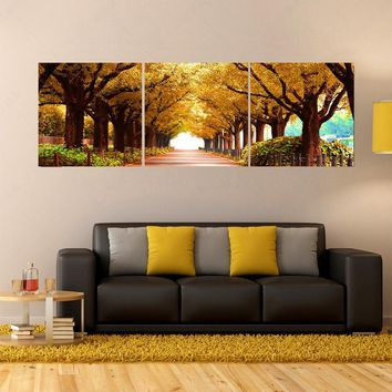 Art Oil Painting 3pcs tree cheap large canvas No Frame