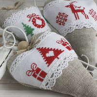 Set of Christmas tree ornament  with lavender Christmas decoration Gift for christmas Scandinavian Sachet Valentines day heart linen heart