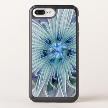 Floral Beauty Abstract Modern Blue Pastel Flower Speck iPhone Case