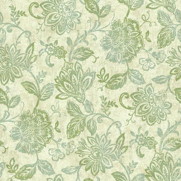 Sample Lillian Floral Wallpaper in Blue-Greens and Metallic design by York Wallcoverings