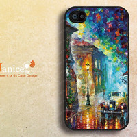 iphone case iphone 4s case iphone 4 case iphone 4 cover painting rain and tree car street unique Iphone case designF0088