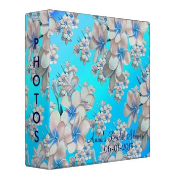 Pretty Teal Floral Bridal Shower Photo Album 3 Ring Binder