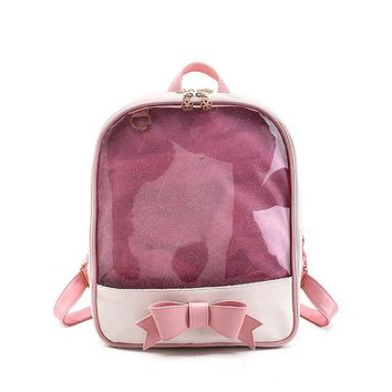 Clear Backpacks popular Moon Wood Brand Summer Candy Color PVC Transparent Bow Backpack Flower Zipper Women Clear Daily Backpack Girls School Bag M621 AT_62_4