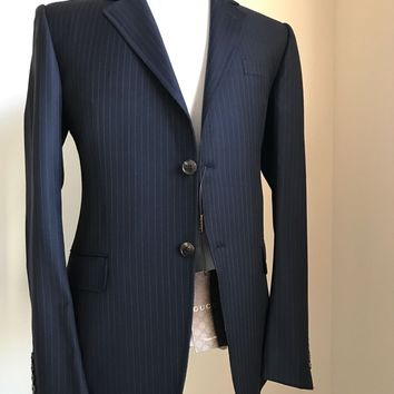 New $3145 Gucci Wool Suit Blue Stripped 40R US ( 50R Eu) Switzerland