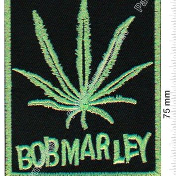 "3.5"" Green BOB MARLEY Reggae ska Jamaica Embroidered Iron On Patch pot leaves Hat jacket Vest music band rock punk badge"