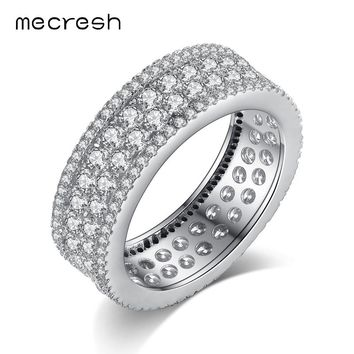Mecresh 925 Sterling Silver Circle Wedding Finger Rings Pave Tiny Cubic Zirconia Bague Engagement Bands Jewelry for Women JZ062