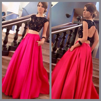 Elegant Two Piece Prom Dresses with Lace