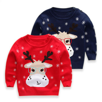 2016 new Baby Boys Girls Children Kids Knitted Christmas fawn pattern Winter Autumn Pullovers Warm Outerwear  Sweaters