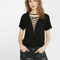 Express One Eleven Lace-Up Front Tee
