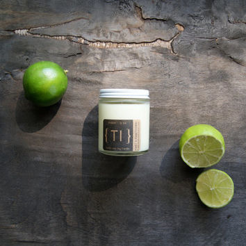 Thallos: Vanilla Lime Soy Candle {Tl} in Glass Jar 5oz. with Cotton Wick or Wood Wick