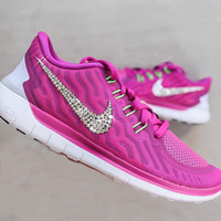 CUSTOMIZED NIKE FREE With Swarovski Crystals - Fuschia