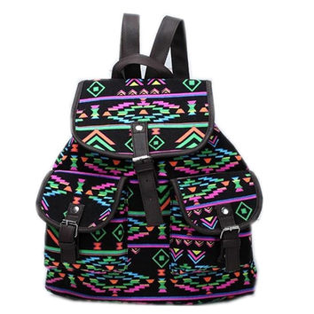 Womens Tribal Aztec Canvas Backpack Travel Bag Daypack School Bookbag