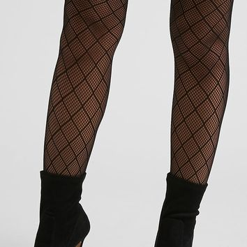 Sheer Diamond Fishnet Tights