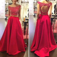 Red Bling Bling Long Two 2 Pieces Prom Dresses Gown 2016 Formal Evening Dress Graduation Party Dress Plus size Cheap