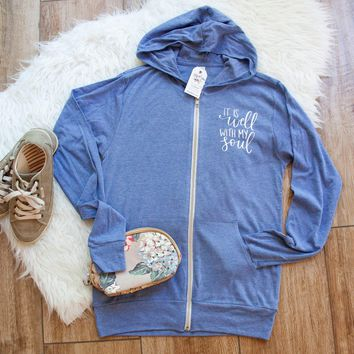 It Is Well With My Soul Lightweight Zip up Hoodie