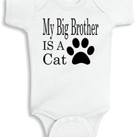 Lil Shirts My Big Brother Is A Cat Baby Bodysuit