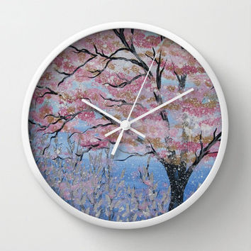 cherry blossom clock for wall with pink blossoms and blue silver gold colored  flowers leaves impressionist painting style print design art