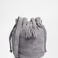 Warehouse Suede Drawstring Duffle Bag with Tassel
