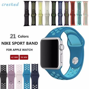 CRESTED sports Silicone strap for  apple watch band 42mm 38mm for iwatch Series1 2 3 band men Rubber bracelet wrist With Adapter