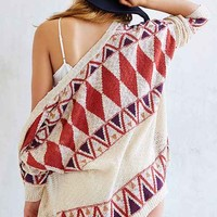 Lucca Couture Geo Slouchy Cardigan- Red Multi