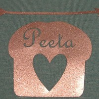 Hunger Games Peeta bread shirt RESERVED for Carfund by Fluffshop