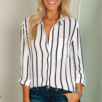 Classic Striped Button Up Top Off White