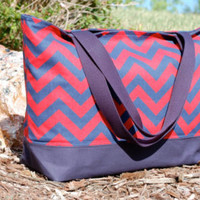 Navy and Orange Chevron Tote Bag