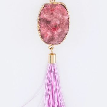 Fringe & Druzy Long Necklace