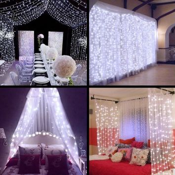 4.5M x 3M 300 LED Icicle String Lights Christmas Fairy Lights new year xmas Home For Wedding/Party/Curtain/Garden Decoration