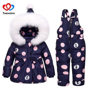 Girls Snowsuit Hoodie Down Jacket and Overalls  1-3T
