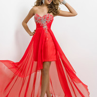 High Low Beaded Bust Chiffon Prom Dress By Blush 9735