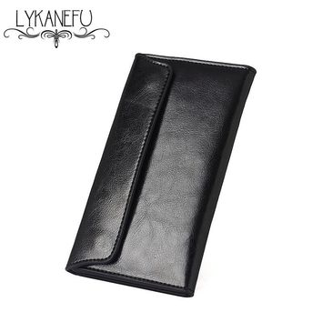 LYKANEFU Leather Wallet Womens Wallets and Purses Clutch Purse Long Thin Design Credit Card Holder Simple Style Dollar Price
