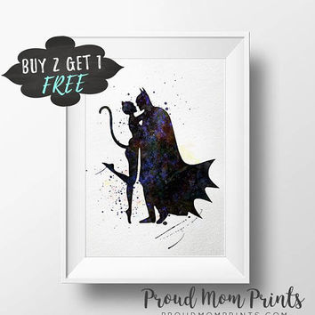 Catwoman And Batman Wall Art, Batman Poster, Batman And Catwoman Art Print, Catwoman Poster Catwoman Decor, Dc Comics, Cat Woman, Superhero