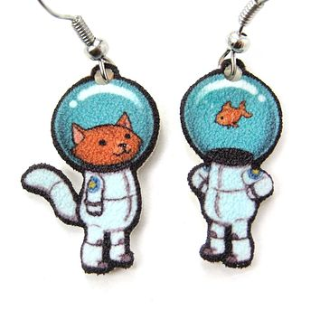 Kitty Cat Astronaut in Space Suit Animal Dangle Earrings | Handmade