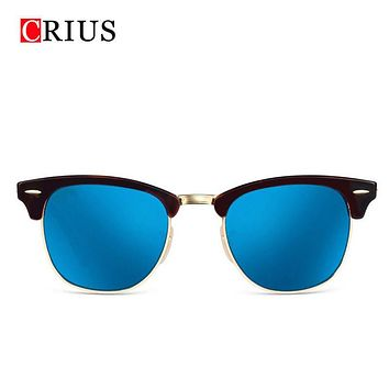 women sunglasses men's sun glasses black rimmed coating man metal frame half brdesigner vintage Genuine Brand UV400 2017 new