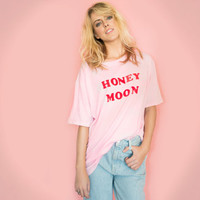 Vintage 80s Novelty Thin T Shirt Pink Honey Moon Tee  Pale Pink Pastel Pink Kawaii Oversized Tee XL