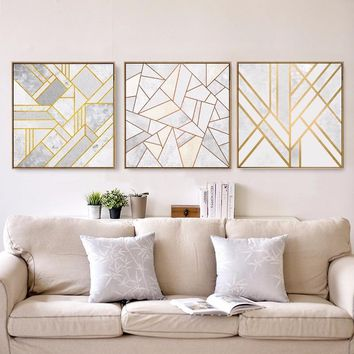 Geometry Abstract Striped Lines Nordic Canvas Painting Home Decor Wall Art DIY Poster Print Office Hotel Backdrop Props Supply