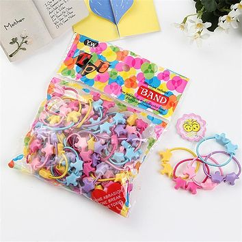 50pcs/bag Small Cartoon Bears Flowers Rabbit Star Child Baby Kids Ponytail Holders Hair Accessories For Girl Rubber Band Tie Gum