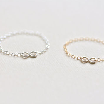 tiny infinity chain ring - gold filled or sterling silver - simple delicate handmade jewelry by fancy lemon