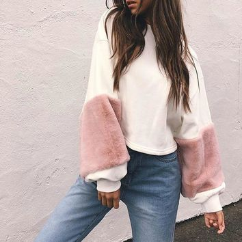 Cropped Sweater Fuzzy Sleeves