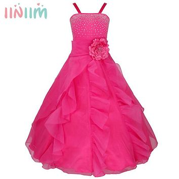 iiniim Kids Girls Flower Bow Formal Dresses Party Ball Gown Prom Princess Bridesmaid Wedding Children's Tutu Dress Size 2-14Y
