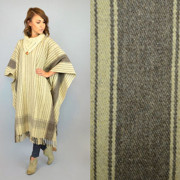 MEXICAN BLANKET boho ethnic hippie fringed vintage 1970s striped maxi PONCHO, one size fits all