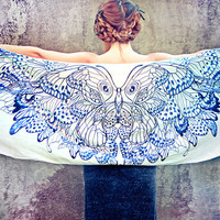 Women scarf, Original  Art hand painted Butterflies in Indigo, stunning unique and useful, perfect gift