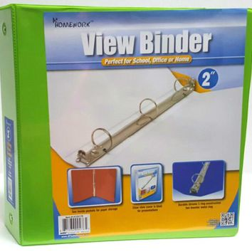 "2"""" Clear View Pocket Binder - Lime Case Pack 12"