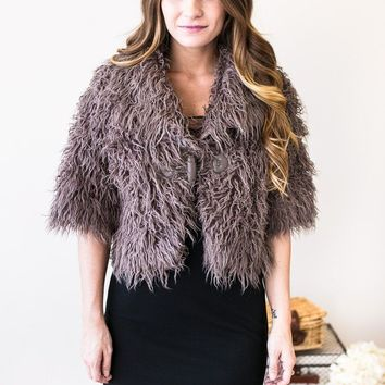 XOXO Faux Fur Cropped Jacket